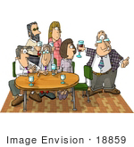 #18859 Two Women And Four Men At An Office Party Clipart