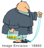 #18860 Man In A Robe Hooked Up To A Catheter Clipart