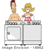 #18862 Nudist Caucasian Couple Standing Naked Behind a Washer and Dryer, Holding a For Sale Sign Clipart by DJArt