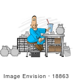 #18863 Man In Coveralls Sitting At A Counter While Repairing Clipart