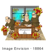 #18864 Three Bald Friar Men Working In A Flower Shop Clipart