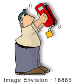 #18865 Man Holding A Fire Extinguisher Upside Down While Inspecting It Clipart