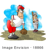 #18866 Pitcher And Batter Playing Little League Baseball Clipart