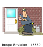 #18869 Gas Utility Service Man Checking The Meter At A Home Clipart