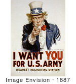#1887 Uncle Sam - I Want You For US Army by JVPD