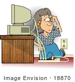 #18870 Confused Woman Trying To Figure Out How To Plug In Power Cords To A Computer Clipart