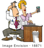 #18871 Engineer And Assistant Calculating Costs With Calculators Clipart