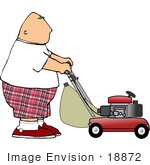 #18872 Man in Shorts, Pushing a Lawn Mower Clipart by DJArt