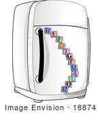 #18874 Letter Magnets On A White Refrigerator In A Kitchen Clipart