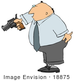 #18875 Angry And Frustrated Business Man Aiming A Pistil Clipart
