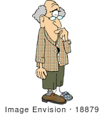 #18879 Old Forgetful Man Missing A Shoe Clipart