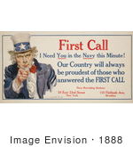 #1888 First Call I Need You In The Navy This Minute! Uncle Sam