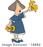 #18882 Woman In A Blue Dress Holding Two Golden Dollar Signs For A Sale Or Purchase Clipart
