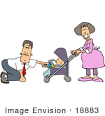 #18883 Father Handing His Baby A Pacifier While Being Pushed In A Stroller By The Mother Clipart