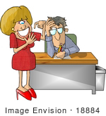 #18884 Annoyed Manager Man Interviewing a Dumb Blond Who is Counting Her Fingers Clipart by DJArt
