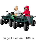 #18885 Caucasian Couple Riding Green ATVs Clipart by DJArt