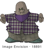 #18891 Chubby African American Man Clipart