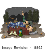 #18892 Two Male Campers Sleeping Out Under The Stars Clipart