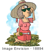 #18894 Woman Kneeling in Grass With a Weed Pulling Tool, Picking Dandelions Clipart by DJArt