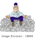 #18895 Exhausted Natural Gas Utility Man Sitting On A Pile Of Gas Meters Clipart
