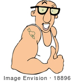 #18896 Strong Muscular Man In A Tank Top Showing His Muscles And Tattoo Clipart