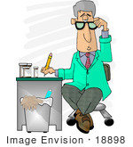 #18898 Gray Haired Male Doctor In A Green Jacket Writing Notes On A Patient Clipart