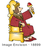 #18899 King Sitting On A Golden Throne Wearing A Red Robe Clipart