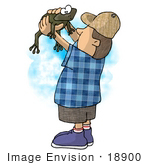 #18900 Little Boy Holding A Wild Frog That He Caught Clipart