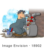 #18902 Sweaty Natural Gas Utility Service Man Adjusting A Gas Meter Clipart