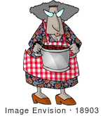 #18903 African American Granny Holding A Pot Of Berries Clipart