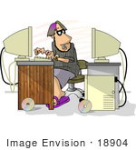 #18904 Computer Programmer Man Working On Two Computers Clipart