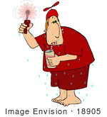 #18905 Sweaty Man In Red Sipping A Drink On A Hot Summer Day Clipart
