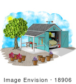 #18906 Car Parked in a Garage That Has an Attached Patio Clipart by DJArt