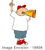 #18908 Man Talking Through A Megaphone Clipart