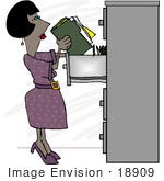 #18909 African American Woman Filing Paperwork At An Office Clipart