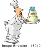 #18910 Male Chef Carrying A Three Tiered Vanilla Birthday Cake With Candles On Top Clipart