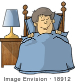 #18912 Little Boy Sound Asleep Tucked Into Bed Clipart