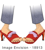 #18913 Person With Hairy Legs And Toes Wearing Red High Heels Clipart