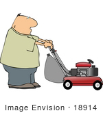 #18914 Middle Aged Caucasian Man Mowing His Lawn With A Lawn Mower Clipart