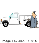 #18915 Worker Man In Coveralls Filling Up His Work Truck With Gas At A Gasoline Station Clipart