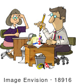 #18916 Accountant Preparing Paperwork With Secretary Watching Clipart