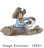 #18921 Man With A Gold Tooth Kneeling While Panning For Gold Clipart