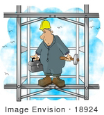 #18924 Man With A Toolbox And Sledgehammer Standing Up High In The Sky On An Iron Building Clipart
