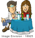 #18925 Young Caucasian Couple Sitting at a Table in a Restaurant on Their First Date Clipart by DJArt