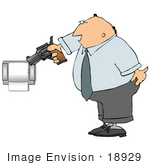 #18929 Angry Man Aiming A Gun At A Paper Dispenser Clipart