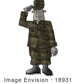 #18931 African American Marine Military Soldier Saluting Clipart