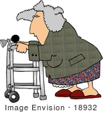 #18932 Old Woman Using A Walker Equipped With A Horn Clipart