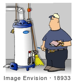 #18933 Hot Water Heater Repair Man Taking Notes For A Quote Clipart