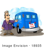 #18935 Car Salesman Standing By A Vintage Car Clipart