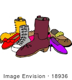 #18936 Group Of Shoes Clipart